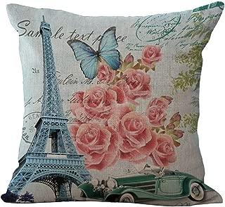 ChezMax Linen Blend Eiffel Tower Pattern Cushion Cover Cotton Pillowslip Square Decorative Throw Pillow Case 18 X 18''