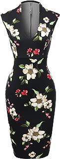Made by Emma Women's Scuba Floral Print Sleeveless Front U Neckline Party Midi Dress