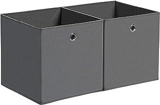 SONGMICS Boîte de Rangement, Lot de 2, Coffre de Rangement, Pliable, en Tissu Non-tissé, Bac pour Jouets, Gris RFB02G