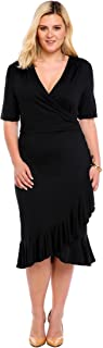 IN'VOLAND Whimsy Wrap Flounce High-Low V Neck 3/4 Sleeves Plus Size Casual Dress Plus Size Wear to Work Dress