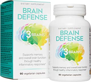 3 Brains by Natural Factors, Brain Defense, Supports Memory and Brain Function, Dietary Supplement, Vegetarian, 90 Capsule...
