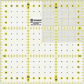 Régua para Patchwork, Escalas em mm, em Acrílico 3 mm – Trident, PT.150X150, Cristal 15 x 15 cm