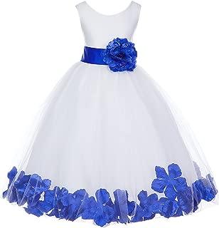 White Floral Rose Petals Flower Girl Dress Birthday Girl Dress Junior Flower Girl dresses 302s