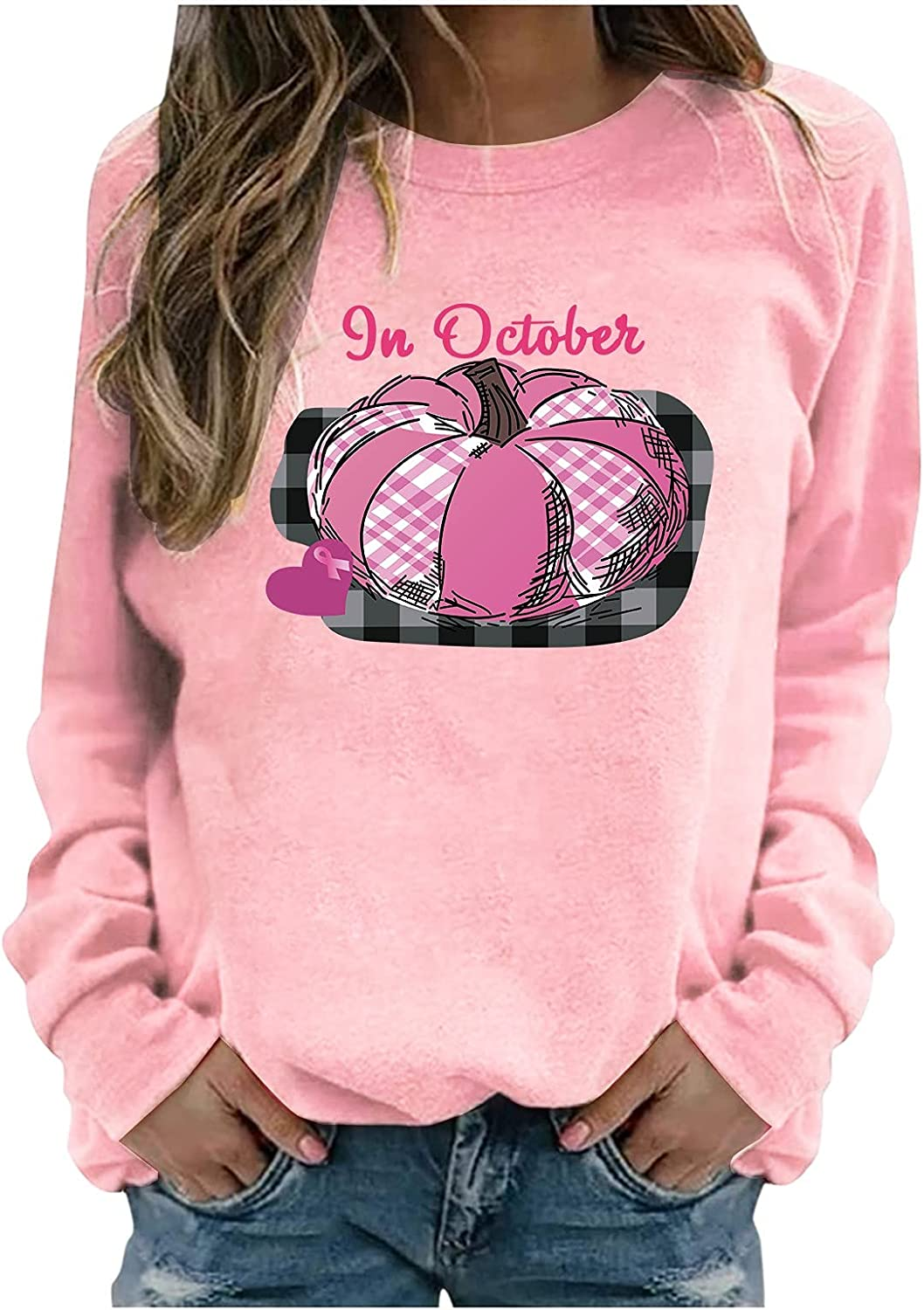 Women Breast Max 76% OFF Cancer Awareness Print Neck Blouse Sweatshirts Crew Max 45% OFF