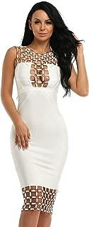 Hego Women's Sleeveless Sexy Bodycon Bandage Studded Club Party Dresses H2123-1