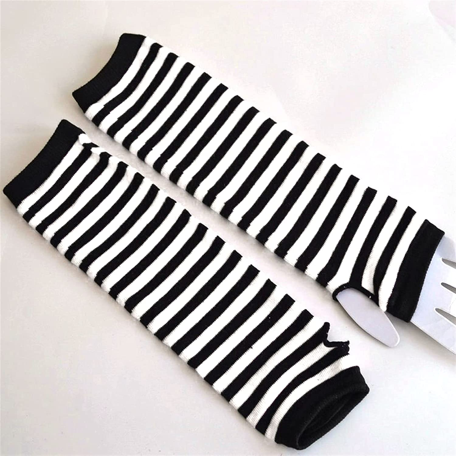 LUBINGT Winter Gloves Fashion Women Lady Striped Elbow Gloves Warmer Knitted Long Fingerless Gloves Elbow Mittens Christmas Accessories Gift (Color : Black White, Gloves Size : One Size)