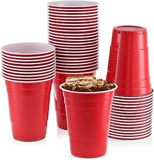 أكواب بلاستيكية حمراء ، [50 قطعة] أكواب حفلات 473 مل أكواب حفلات عيد ميلاد كبيرة للاستعمال مرة واحدة