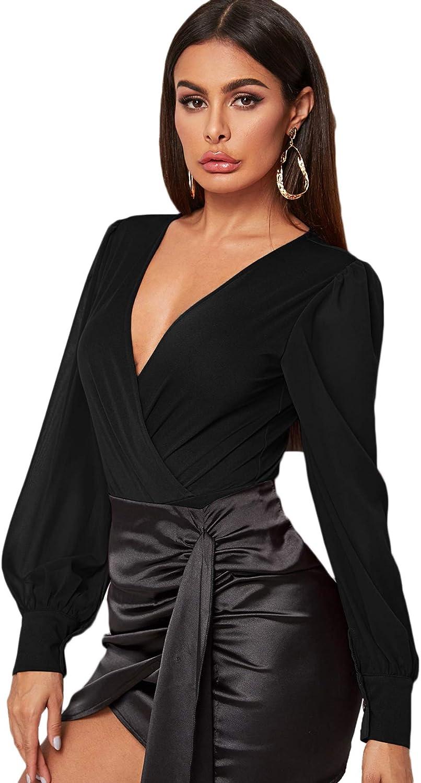 WDIRARA Women's Deep V Neck Long Sleeve Solid Wrap Surplice Bodysuit