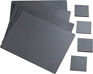 VonShef Natural Slate Placemat and Coaster Dining Table Set for 4 People, Anti Skid and Heat Resistant, 8 Piece, 16 x 12 Inches
