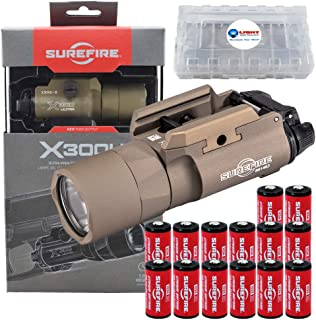 SureFire X300 Ultra X300U-B-TN High Output 1000 Lumen LED WeaponLight Tan with 12 Extra CR123A Batteries and 3 Lightjunction Battery Cases
