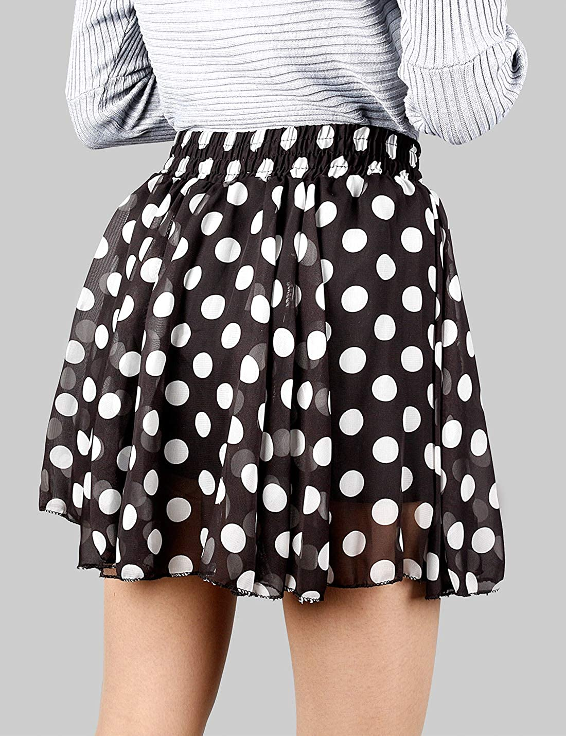 Uaneo Women's Spring Casual Elastic Waist Floral Dot Print Ruffled Mini Skirts (Black, X-Small)