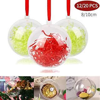 Upgrade Ornaments Clear Balls for Christmas Xmas Plastic Diy Clear Fillable Ornaments Ball ,Transparent Christmas tree Decoration Balls Set for Present Wedding Bath Bomb Molds (80mm/3.15in-12Balls)