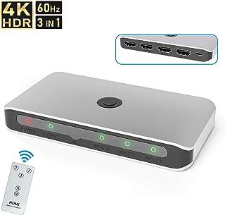 Rytaki HDMI分配器 4Kx2K HDMI 切替器/セレクター 同時出力 3入力1出力 搭載1080p/3D対応 電源不要Chromecast Stick/Xbox One/パソコン/PS3 PS4 Pro/Apple TVなどの対応 リモコン付き