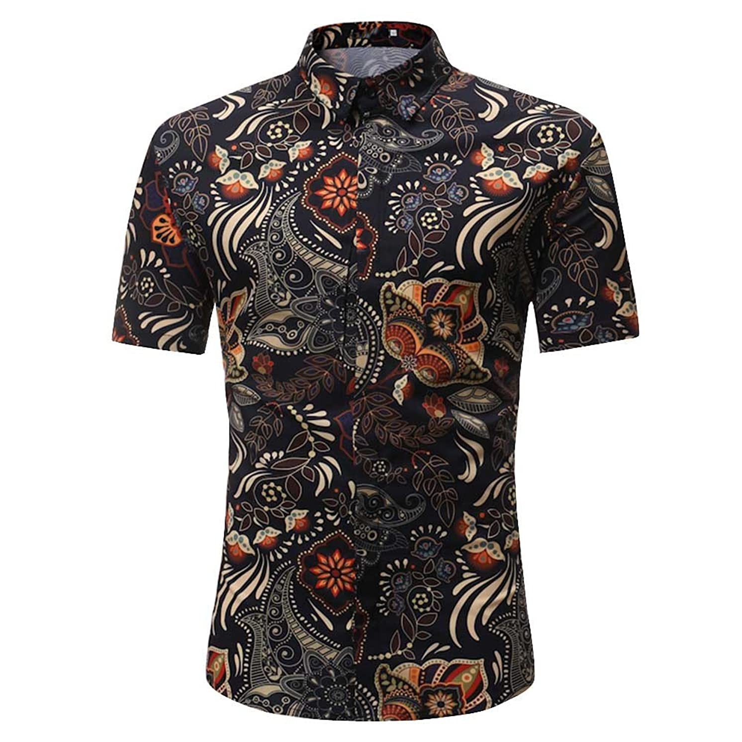 Lelili Men Vintage Printed Buttons Turn Down Collar T-Shirt Plus Size Slim Fit Short Sleeve Tops Blouse Summer Casual Shirt