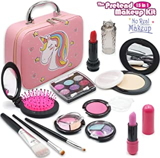 ROKKES Pretend Makeup for Girls Toy - Play Makeup Kit for Toddlers,No Real Makeup for Kids , Fake Cosmetic Toys , Best Girl Gifts for 3/4/5/6/7 Play Cosmetic Set Make Up Bag for Kids
