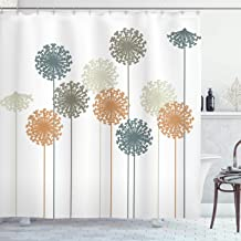 Ambesonne Dandelion Shower Curtain, Abstract Wildflower Silhouettes Botanical Inspirations Meadow in Summer Season, Cloth Fabric Bathroom Decor Set with Hooks, 75