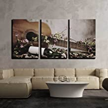 wall26 - 3 Piece Canvas Wall Art - Still Life Wine Bottle with Acoustic Guitar - Modern Home Decor Stretched and Framed Ready to Hang - 24