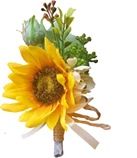 DALAMODA Boutonniere-Sunflower Whith Greenery and Champagne Hemp Rope Ribbon Wrapped Stem Artificial Flowers, Silk Flowers for Wedding Prom Party Pack of 1 Boutonniere #2