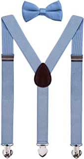 WDSKY Kids Suspenders and Bow Tie Set Y Back for Wedding