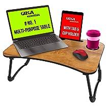 Gizga Essentials Multi-Purpose Portable & Foldable Wooden Desk