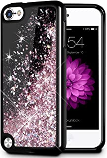 iPod Touch 5 6 7 Case, Caka iPod Touch 7 Glitter Case Starry Night Series Luxury Fashion Bling Flowing Liquid Floating Sparkle Glitter Girly Soft TPU Case for iPod Touch 5 6 7 (Rose Gold)