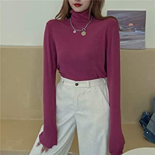Girls Fashion Tight-fitting High-neck Long-Sleeved Bottoming Shirt With Wood Ears High Quality (Color : Dragon Fruit)