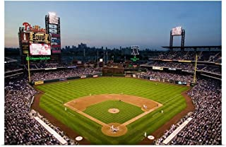 GREATBIGCANVAS Poster Print Panoramic View of 29,183 Baseball Fans at Citizens Bank Park, Philadelphia, PA by Panoramic Images 36