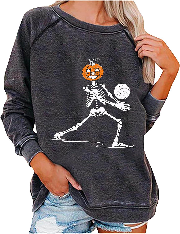Womens Halloween Crewneck Fall Sweaters Fashion Vintage Graphics Lightweight Sweatshirts Long Sleeve Comfort Blouses