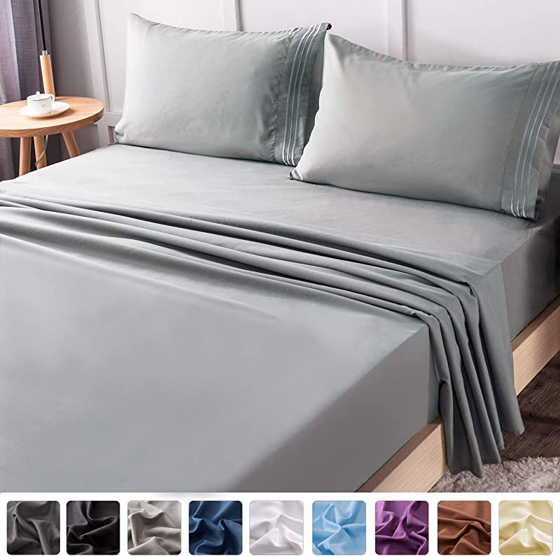 LIANLAM Queen Bed Sheets Set Super Soft Brushed Microfiber 1800 Thread Count Breathable Luxury Egyptian Sheets 16 Inch Deep Pocket Wrinkle And Hypoallergenic 4 Piece Queen Grey