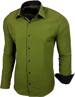 Baxboy - Camisa de manga larga para hombre, de corte ajustado, fácil de planchar, para trajes, trabajo, bodas, tiempo libre, R-44 caqui XXXXXXL: Amazon.es: Ropa y accesorios