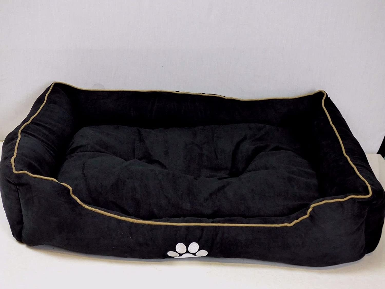 BUNNY BUSINESS Rectangular Cushioned Dog Bed, 100 cm 39Inch, Black