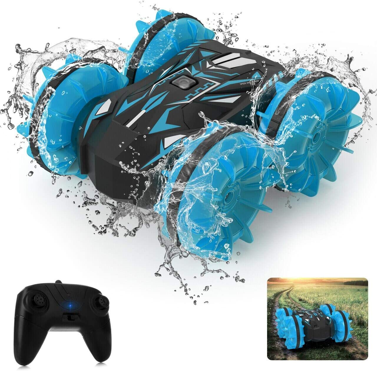 Amphibious RC Stunt Car 1:20 Scale 2.4Ghz Remote Control 4WD Double Sided Driving 360/° Spinning Blue Waterproof Remote Control Car Pool Beach Land Stunt Toy Car for Kids Age 4-12 High Speed