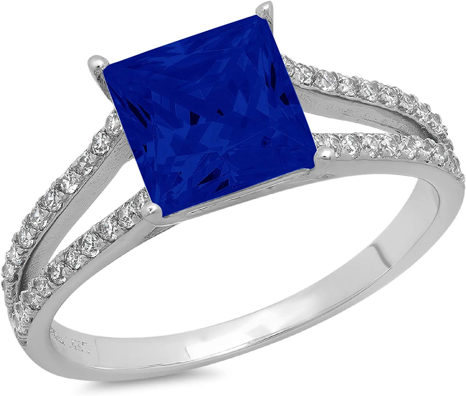 2.36ct Princess Cut Solitaire with Accent split shank Flawless Ideal Genuine Cubic Zirconia Blue Sapphire Engagement Promise Statement Anniversary Bridal Wedding Designer Ring 14k White Gold