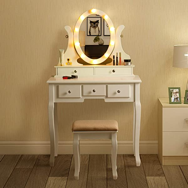 MAISMODA Vanity Table 10 LED Lights 5 Drawers Makeup Dressing Desk With Cushioned Stool Set White