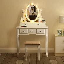 MAISMODA Vanity Table 10 LED Lights, 5 Drawers Makeup Dressing Desk with Cushioned Stool Set, White
