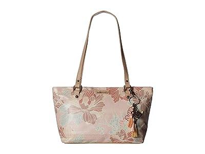 Sakroots Artist Circle Small Satchel (Petal Pink Flower Blossom) Tote Handbags