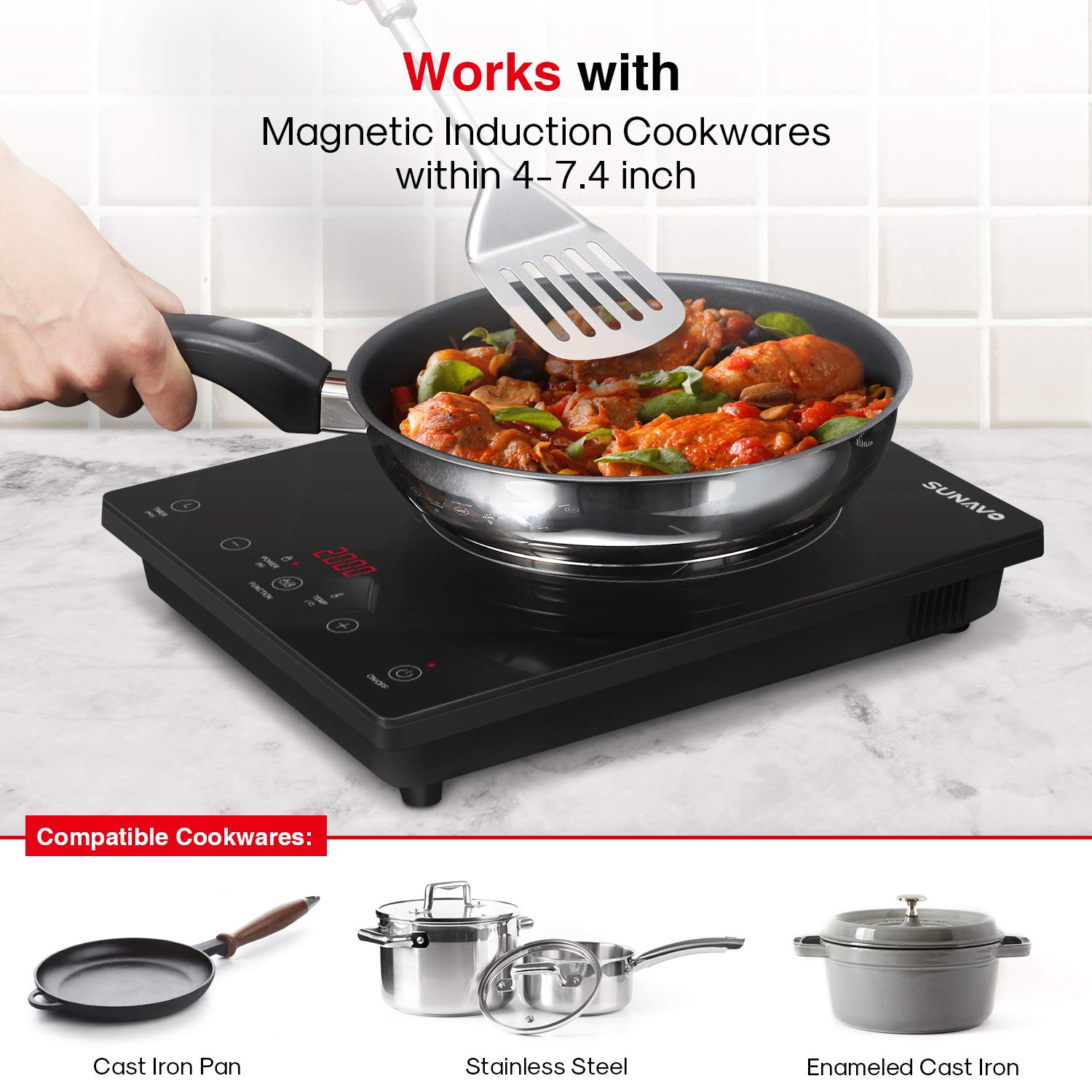 SUNAVO Portable Induction Hob, 2000W Sensor Touch Induction Cooker with Kids Safety Lock, 15-Level Power and Temperature Control Countertop Burner with Timer  Tefal IH201840 Everyday Induction Hob, Black  Induction Hob Portable, JEROOP Ultra-Thin 2000W Single Electric Cooker Cooktop, Touch Controls& LED Display Panel, 10 Power and Temperature Settings, 3-Hour Timer, Safety Child Lock  Aobosi induction Hob,Portable Induction Cooker 2000W Black Crystal Glass Surface with LCD Sensor Touch Induction Cooktop With 10 Power Levels and 10 Temperatures Variation 3-hour Timer Function