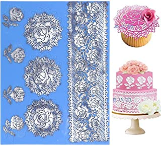 wedding Silicone Lace Mat, rose Cake Decorating Mold, flowers cake Decorating Tools for Edible Lace Fondant Mold, Sugar-Lace Cupcake Mat