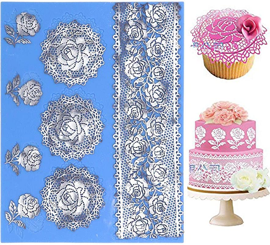 Wedding Silicone Lace Mat Rose Cake Decorating Mold Flowers Cake Decorating Tools For Edible Lace Fondant Mold Sugar Lace Cupcake Mat