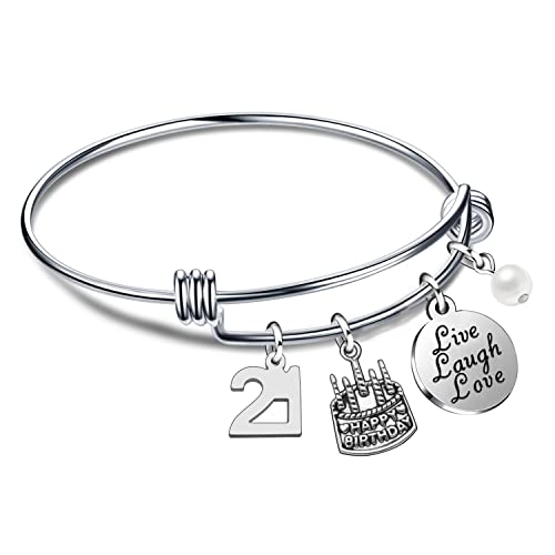 Lauhonmin Birthday Gifts For Her Bangle Bracelets Live Laugh Love Charms 13th 18th 21st 30th
