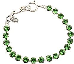 Catherine Popesco Silver Plated Tennis Bracelet with Marine Swarovski Crystals, 7.5