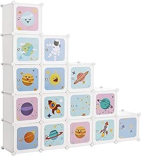 SONGMICS Meuble de Rangement Enfant 15 Cubes, Armoire modulable avec Portes, Étagère en Plastique, pour vêtements, Chaussu...