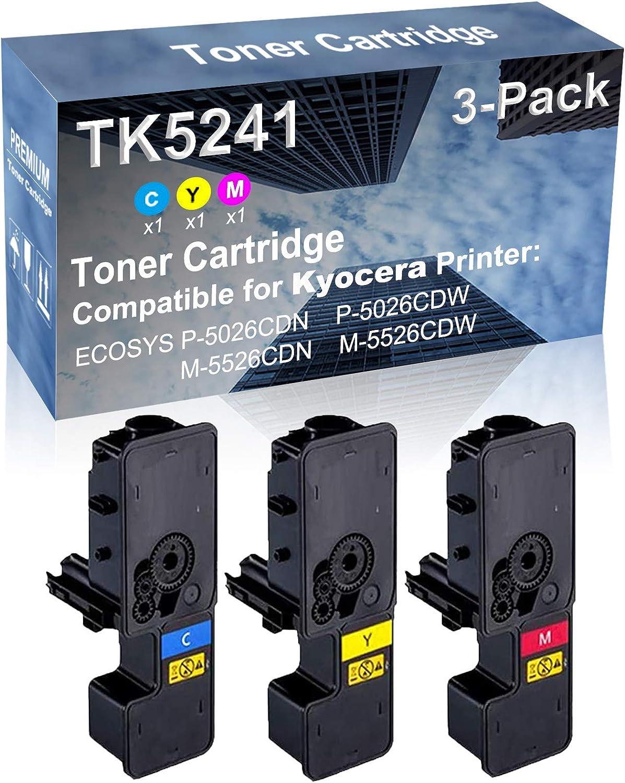3-Pack (C+Y+M) Compatible High Yield TK5241 (TK-5241C+ TK-5241Y+ TK-5241M) Laser Printer Toner Cartridge Used for Kyocera P-5026CDN P-5026CDW M-5526CDN M-5526CDW Printer
