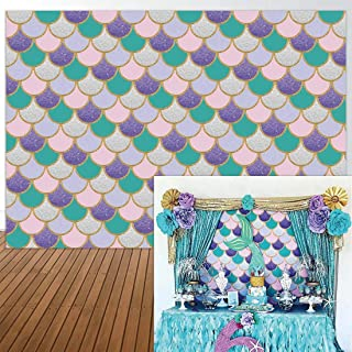 Allenjoy 7x5ft Photography Backdrop Party Princess Purple Pink Mermaid Scales Glare Glitter Birthday Decorations Banner Photo Studio Booth Background Newborn Baby Shower Supplies