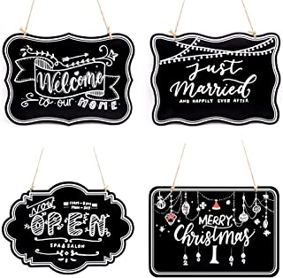 UNIQOOO 10x14 inch Hanging Decorative Chalkboard Sign, Double-Sided Non Porous Wooden Signage Message Board Home Welcome Signs, Perfect for Wedding Cafe Kids Doodling Back to School Supplies, Set of 4