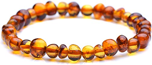 Genuine Amber Unisex Bracelet | Polished Baltic Sea Amber Jewelry | Baroque Shape Amber Beads Hand-Assembled in Europe
