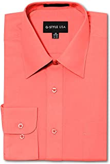 G-Style USA Men's Regular Fit Long Sleeve Solid Color Dress Shirts - Coral - X-Large - 36-37