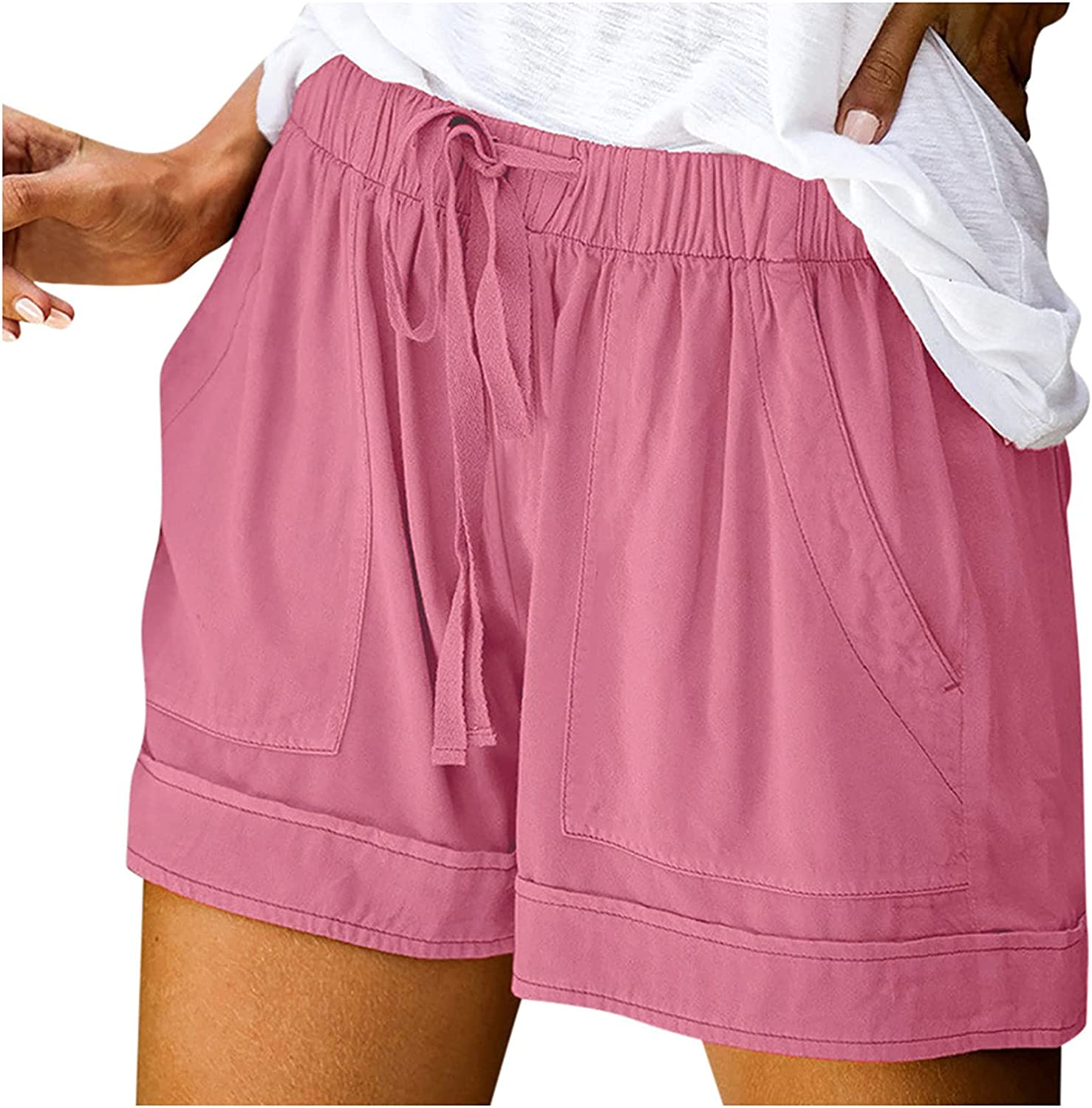 BEUU Womens Summer Casual Drawstring Elastic Waist Comfy Lounge Shorts Pure Color Athletic Workout Shorts with Pockets