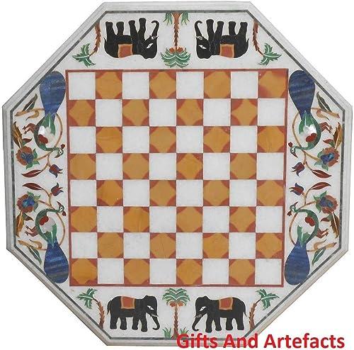 Gifts And Artefacts Elefant & Peacock Art 38,1  Octagon WeißMarmor Chess Tisch Top Einlage gelb Stein