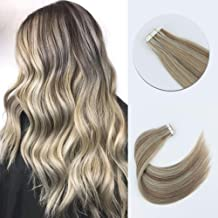 Sixstarhair Professional Highlight Tape In Hair Extensions Piano Color Ash Brown Mixed With Ash Blonde Remy Human Hair Lowlight Hair Extensions For White Women [P8-60 18inch]